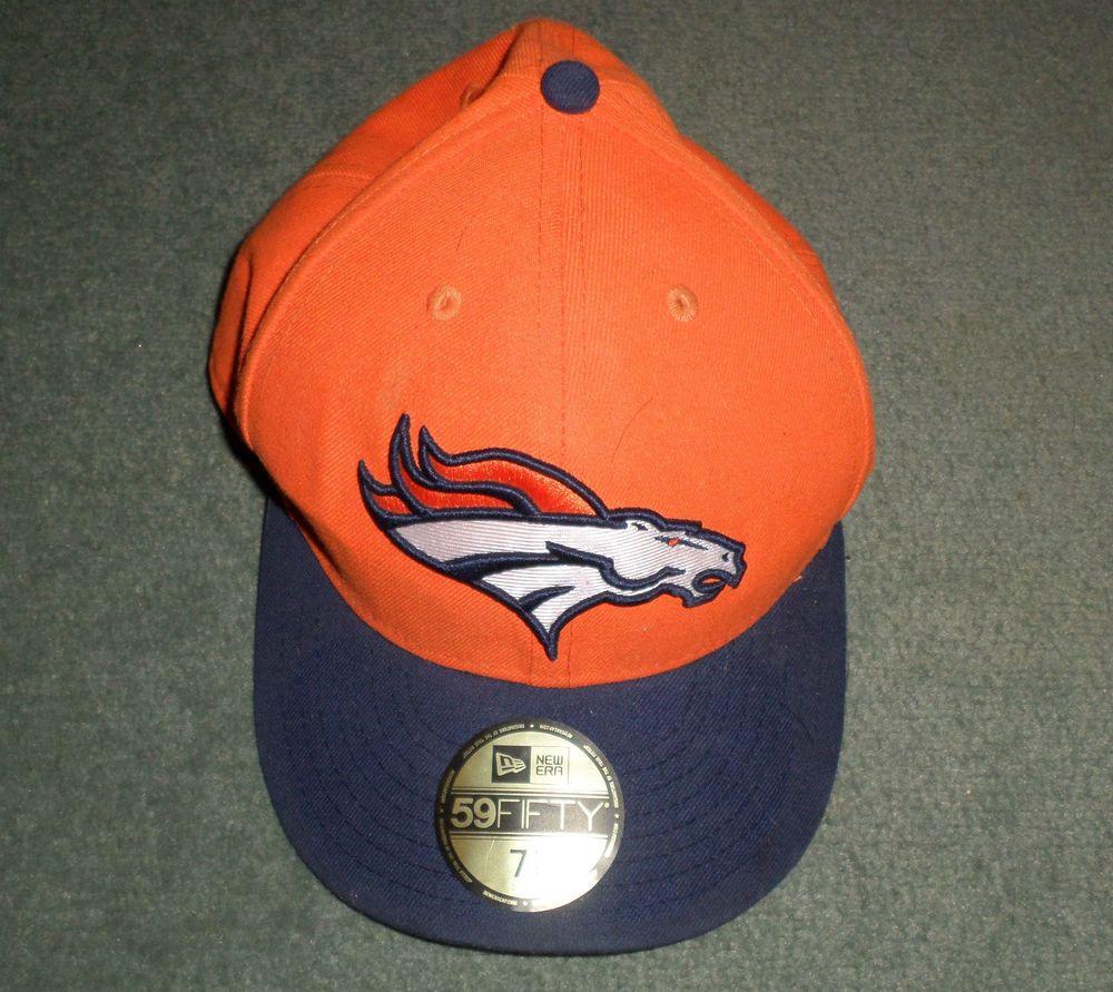 Mens Blue, Orange, White DENVER BRONCOS NFL NEW ERA 59FIFTY Hat, Size 7 1/4, GUC #NEWERA59FIFTYNFL #DenverBroncos