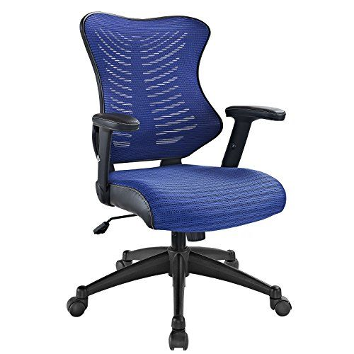 modway clutch office chair with blue mesh back and seat review https