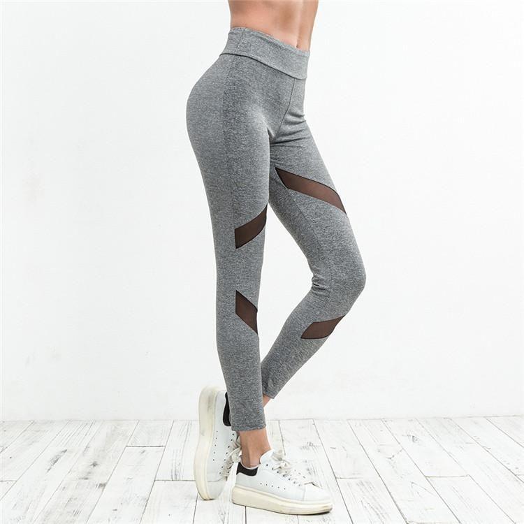 2e24769cdb155 2018 Customized Training Heather Grey Pants High Waist Patchwork Women  Sport Yoga Pants Sexy Fitness Leggings Gym Sports Yoga Pants Cswy006 From  ...