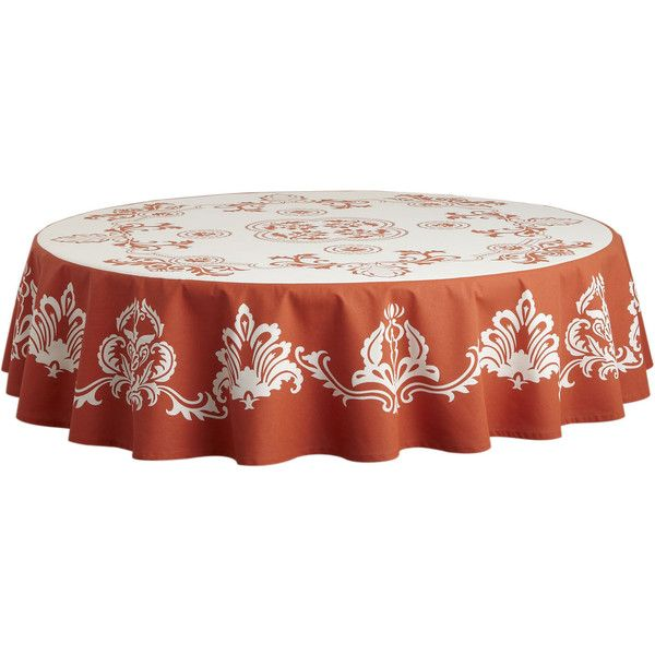 Pier 1 Imports Damask Round Tablecloth   Paprika ($30) ❤ Liked On Polyvore  Featuring
