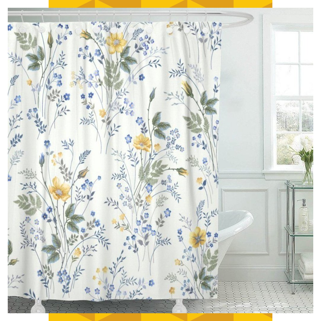 Pknmt Blue Flower Floral Pattern Roses On Yellow Meadow Spring