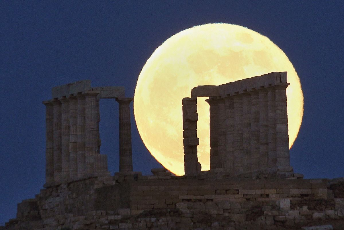 Moon behind the Temple of Poisedon, Sounio, Greece