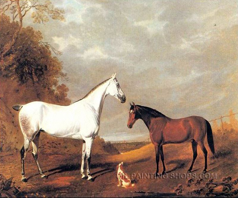 Two White Horses At Weather Day Art Print Home Decor Wall Art Poster D