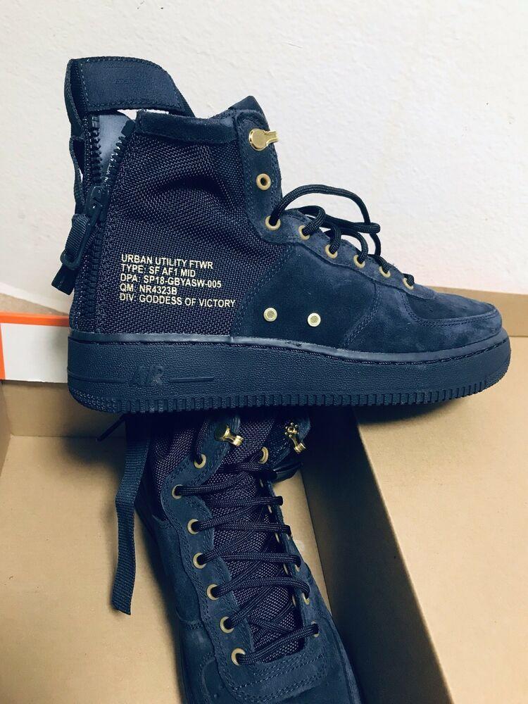 Nike SF AF 1 Mid Mens Shoes Navy Blue SuedeGoldBlack Air