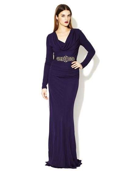e9a1d154 Ruched Jersey Cowl Belted Gown by Badgley Mischka on Gilt.com | A ...
