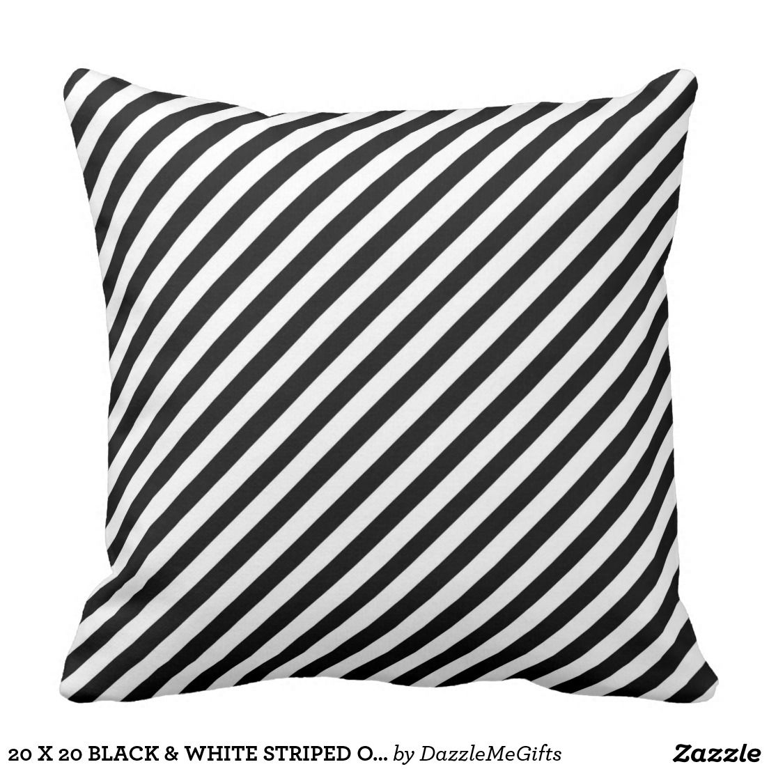 20 X 20 Black White Striped Outdoor Pillow Dazzlemegifts Zazzle