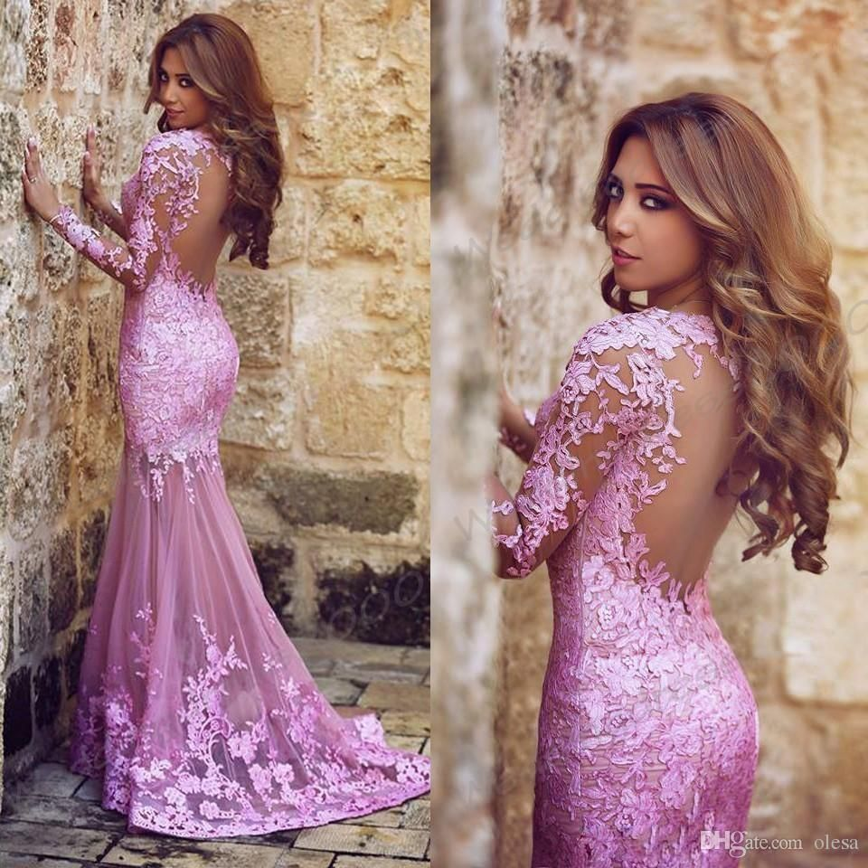 2016 Long Sleeve Mermaid Prom Dresses Tulle Applique Lace Sweep