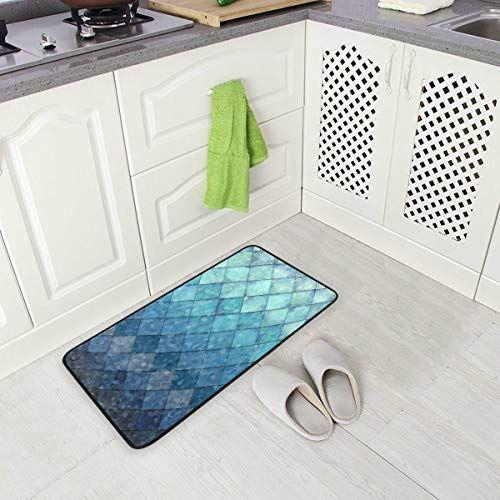 Zoeo Mermaid Bath Runner Rug Ocean Blue Fish Scales Non Slip Area Mat Rugs For Bathroom Kitchen Indoor Carpet Doormat In 2020 Bath Runner Rugs Rugs Kitchen Mats Floor