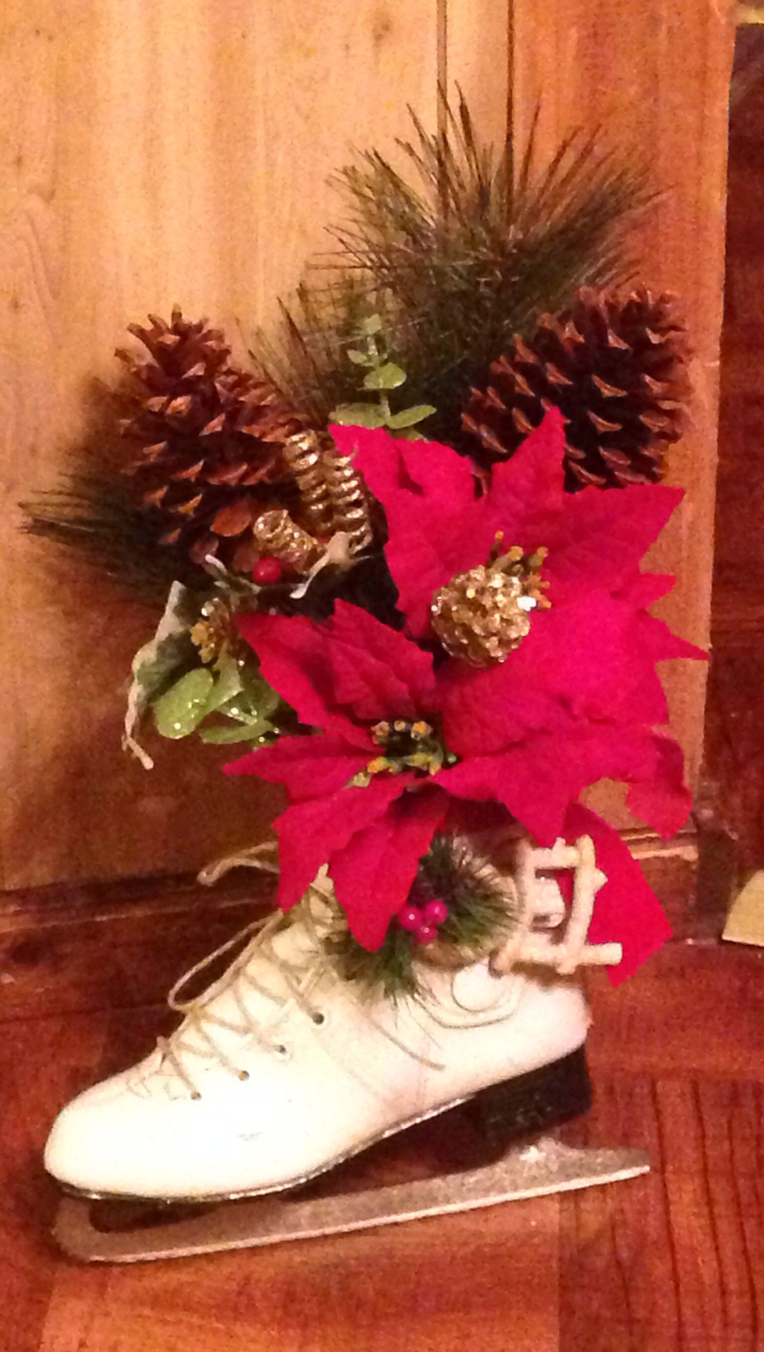 Ice Skate Christmas arrangement I stuffed it with paper Sprayed
