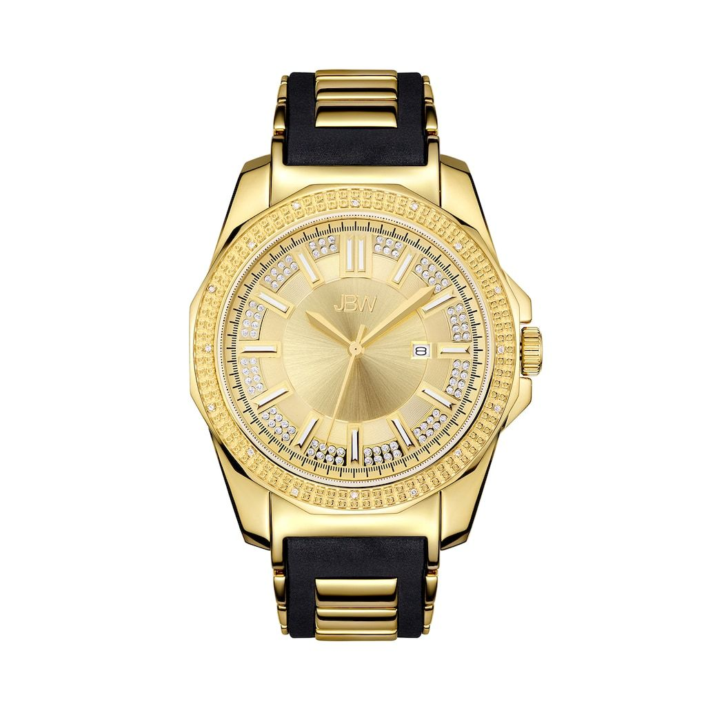 Men S Jbw Regal Diamond Accent Crystal 18k Gold Plated Watch