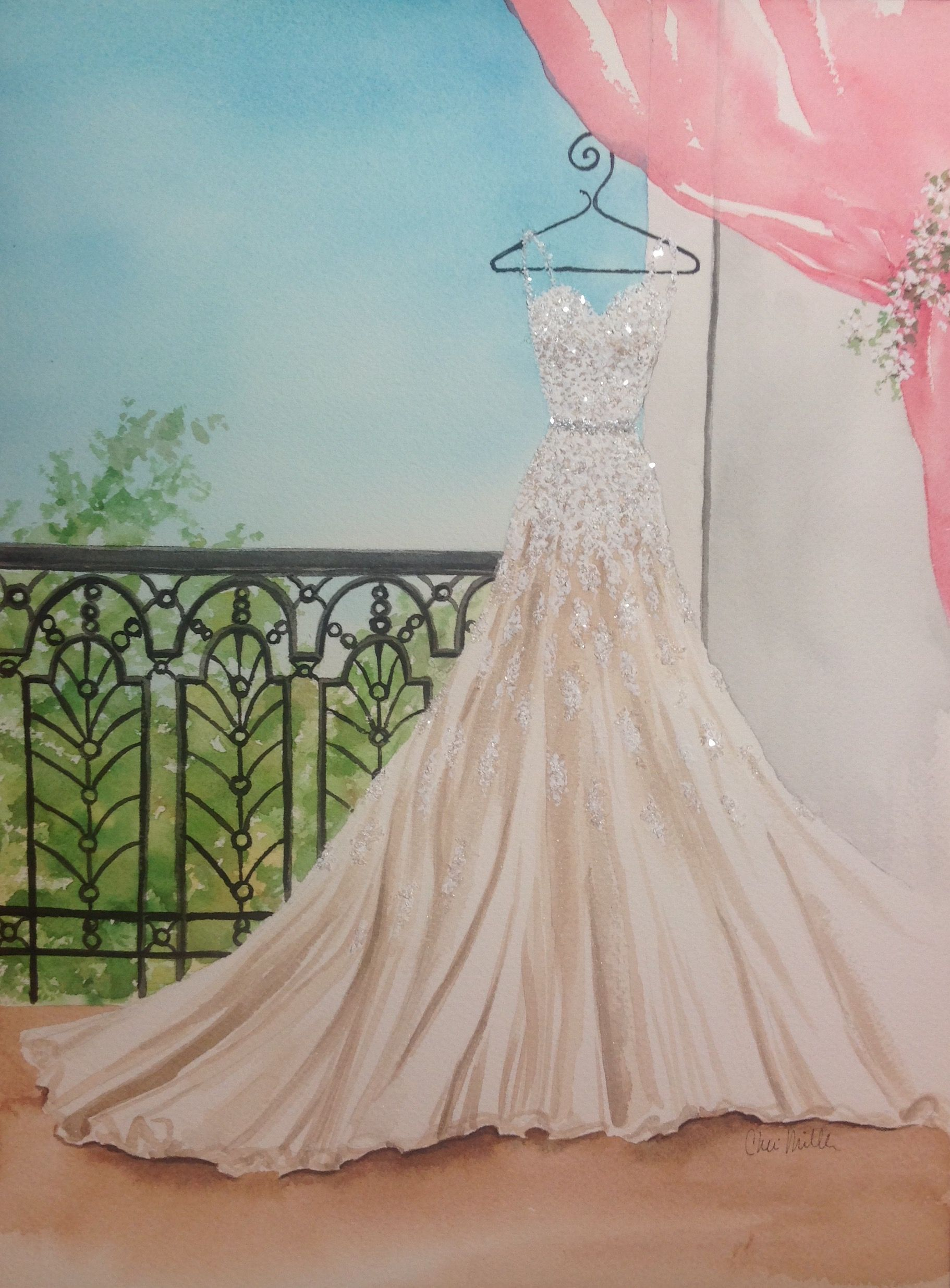Bridal illustration by cheri miller personalized bespoke