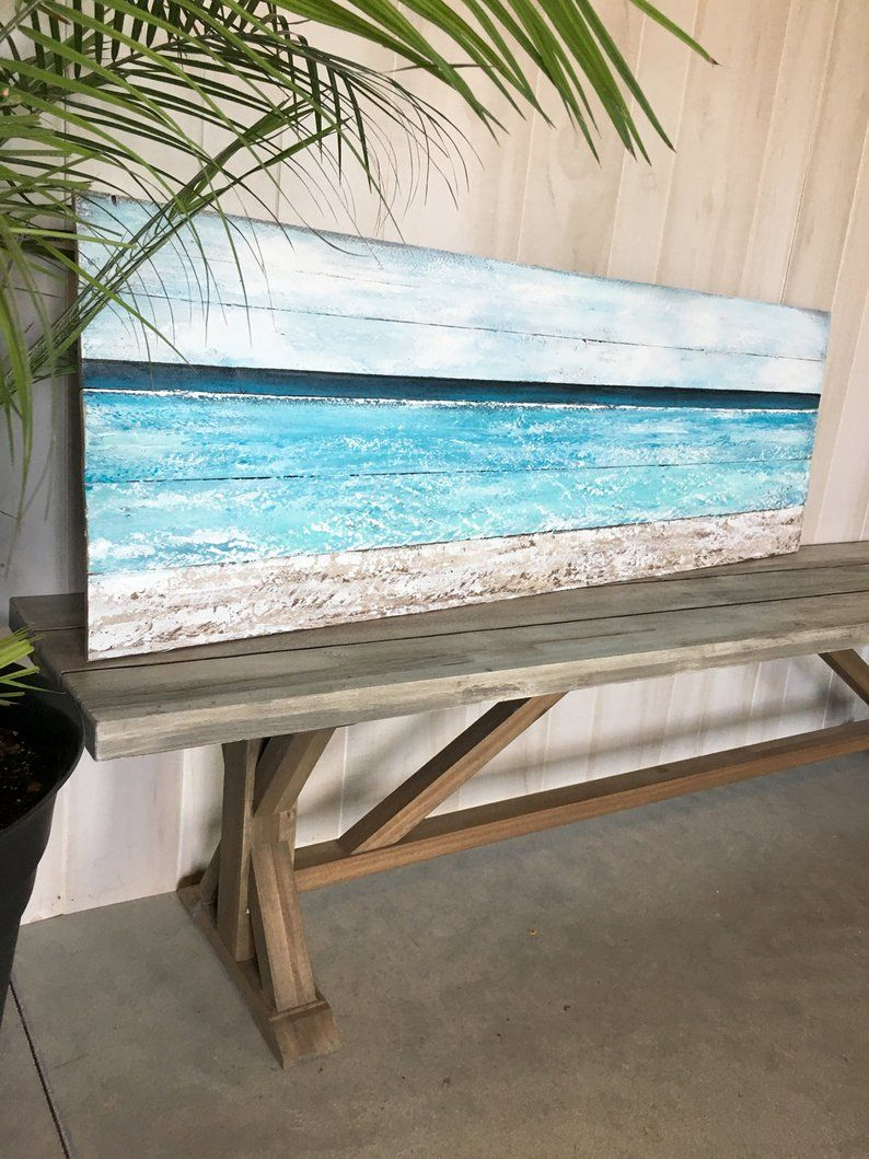 Beach Painting On Wood Large Beach Painting Ocean Painting Large Beach Painting Beach Painting Ocean Painting