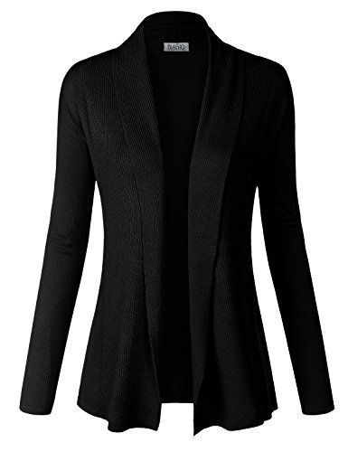 BIADANI Women Classic Soft Long Sleeve Ribbed Collar Open Front ...