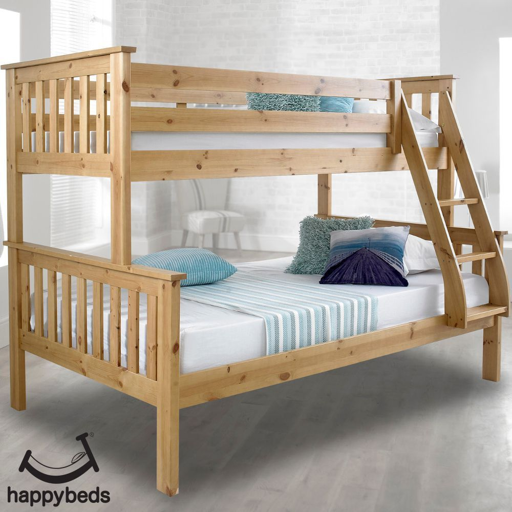 Atlantis Solid Pine Wooden Triple Sleeper Bunk Bed Frame In 2020 Bunk Beds Triple Sleeper Bunk Bed Modern Bunk Beds