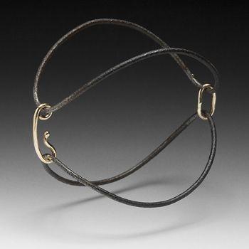 Bracelet | Peg Fetter. 'Potato Chips'  14k gold and steel.