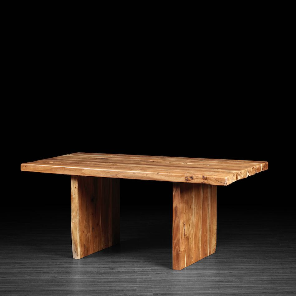 Straight cut acacia dining table with wood legs dining room
