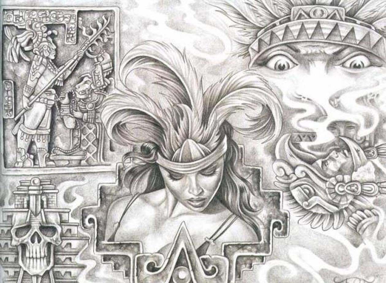 Aztec Woman Tattoo Design