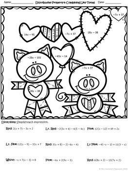 Basic Algebra Color by Number Worksheets (distribute