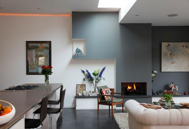Zimmer Streichen Ideen Stahlblau Kamin Wohnzimmer Kueche Offen