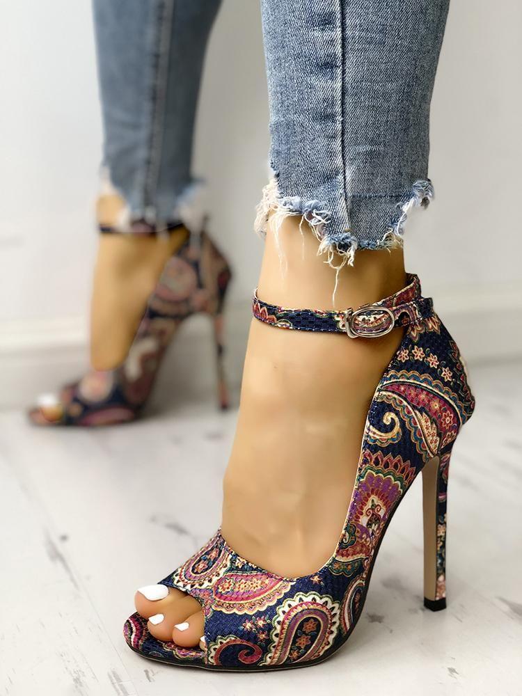 9aa9655c490 Ethnic Print Peep Toe Ankle Strap Thin Heeled Sandals