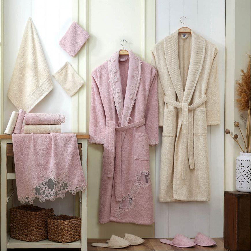 طقم أرواب استحمام نانسي مطرز سكري و وردي فاتح عدد القطع 14 Cotton Robe Pink