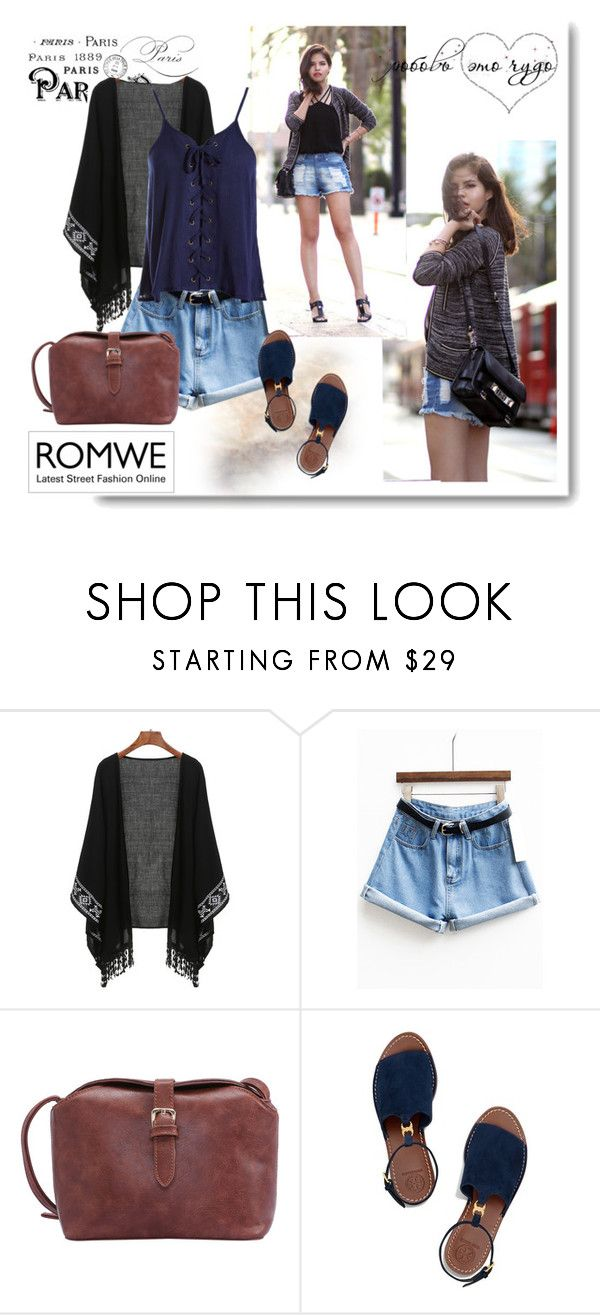 """""""romwe 4"""" by aida-1999 ❤ liked on Polyvore featuring Tory Burch and Sans Souci"""