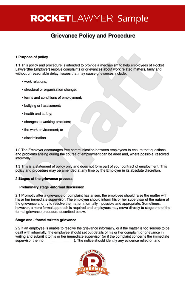 Grievance Procedure Create A Grievance Policy And Procedure Lettering Letter Templates Job Hunting