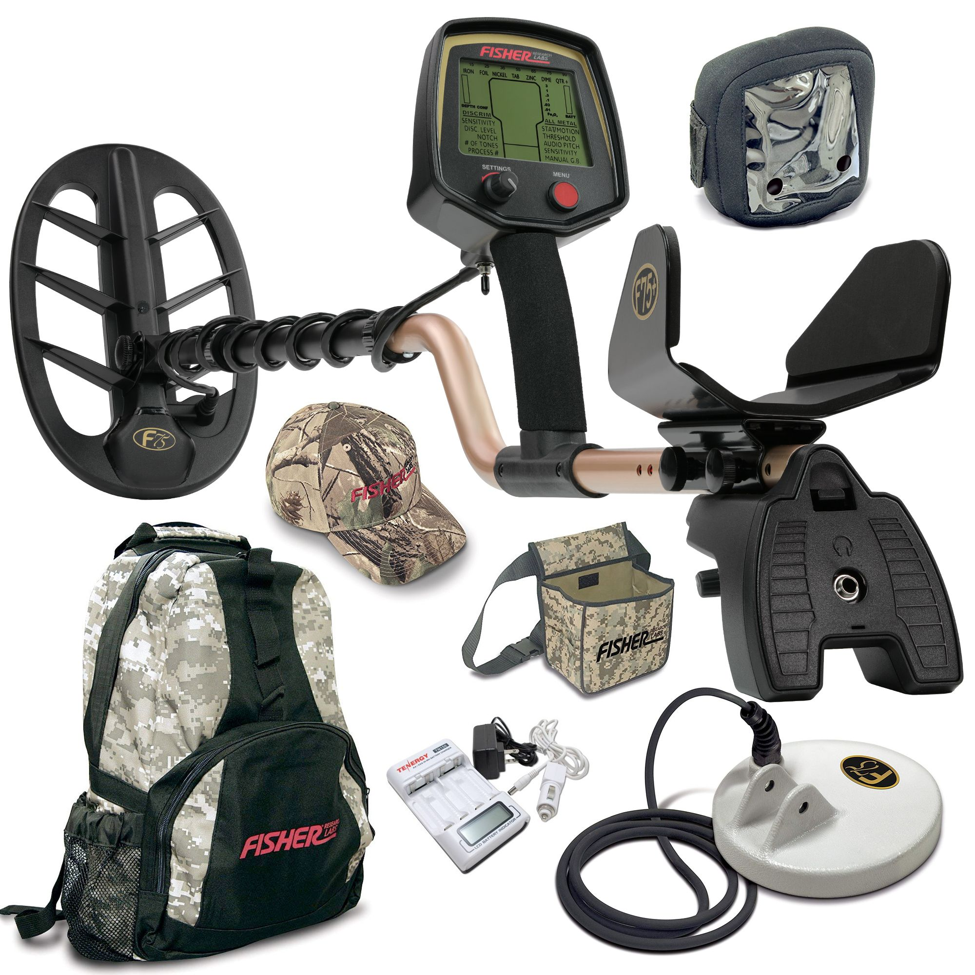 Fisher F75 Ltd Bundle with Two Coils and Covers Back Pack