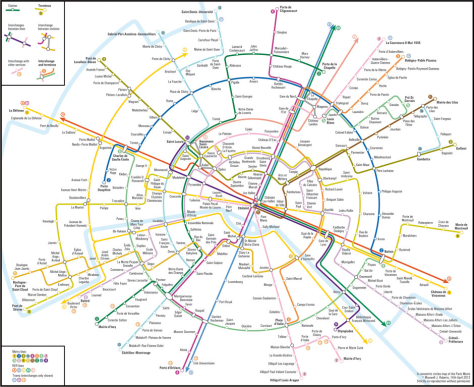 European Transit Maps  Paris metro London underground tube map
