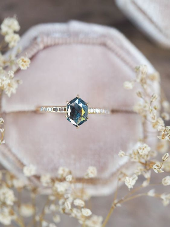 28 Mixed Sapphire Engagement Rings We Can't Take Our Eyes Off Of - Unique engagement rings, Hexagon diamond ring, Vintage engagement rings, Engagement rings sapphire, Engagement ring cuts, Sapphire engagement -  Hold onto your hats ladies and gents, because today's conglomeration of sapphire engagement rings will blow you right away