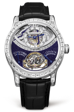 The beauty of its dial in onyx and diamonds is matched only by the uninterrupted spectacle of the Gyrotourbillon® mechanism at the heart of the movement. The Master Gyrotourbillon 1 platinum watch is a masterful example of Jaeger-LeCoultre's jewelry and watchmaking expertise.