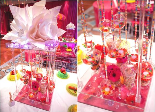 Candy centerpieces with apothecary jars terrariums
