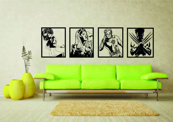 Large Marvel Comics X Men Wall Art Stickers   Vinyl Sticker Mural Decals Ft  Cyclops Rogue Storm Wolverine
