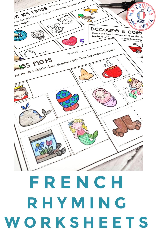 French Rhyme Worksheets Les Rimes En Maternelle Literacy Activities Kindergarten Writing Activities Rhyming Words [ 1500 x 1000 Pixel ]
