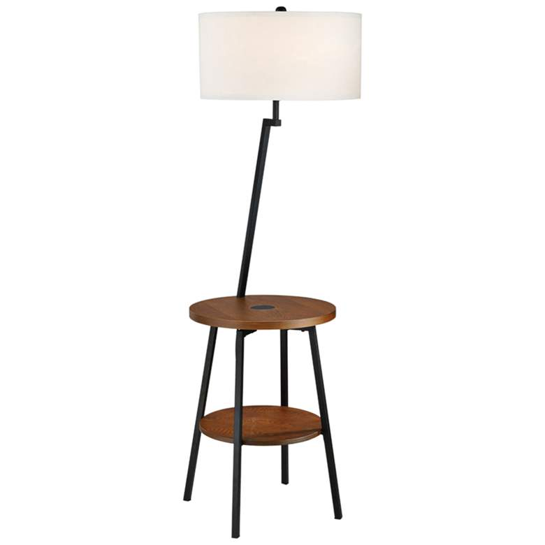 Lemington Black End Table Floor Lamp With White Shade 69m80 Lamps Plus Floor Lamp Table Black End Tables Lamp