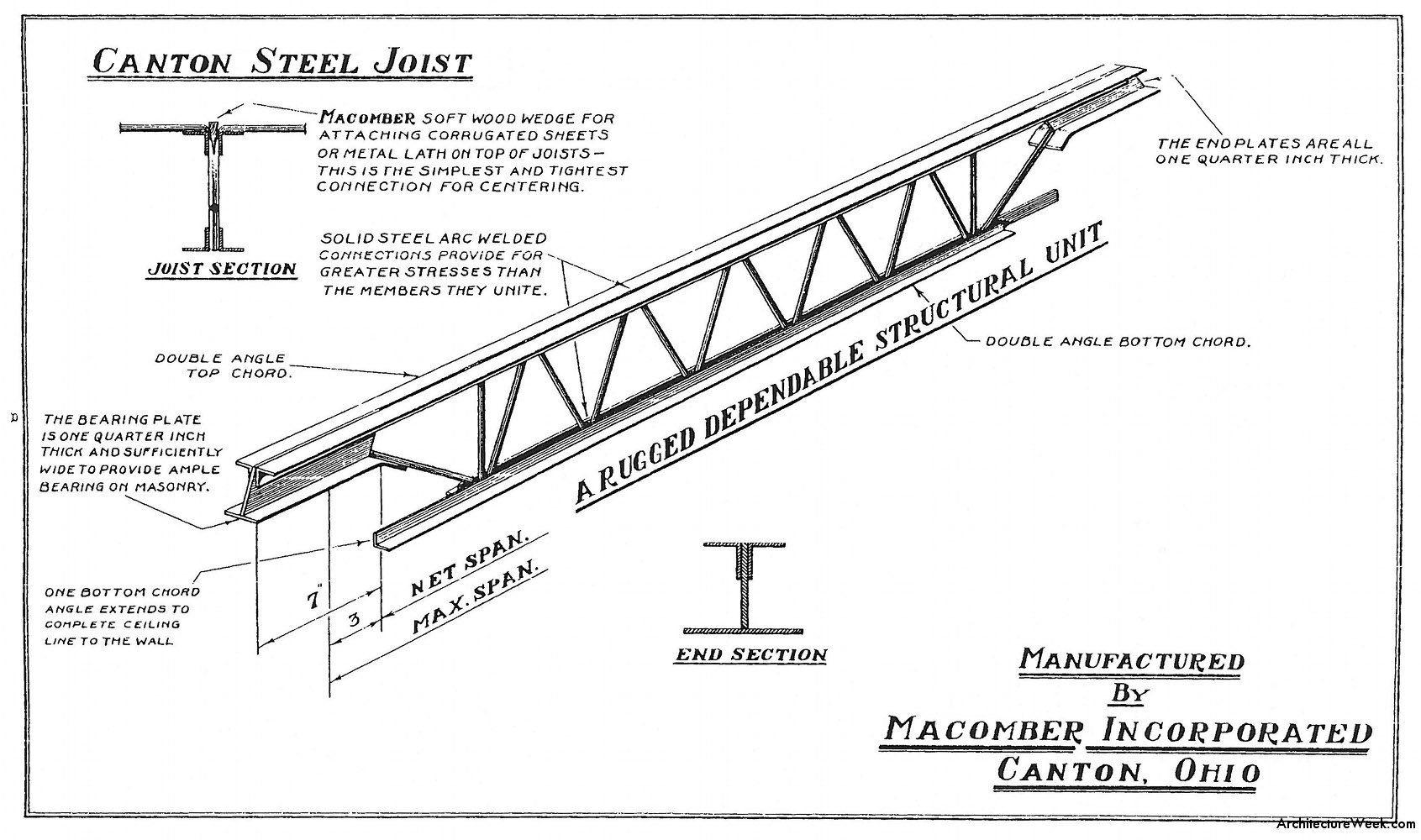ArchitectureWeek Image - Open-Web Steel Joists | Steel | Steel