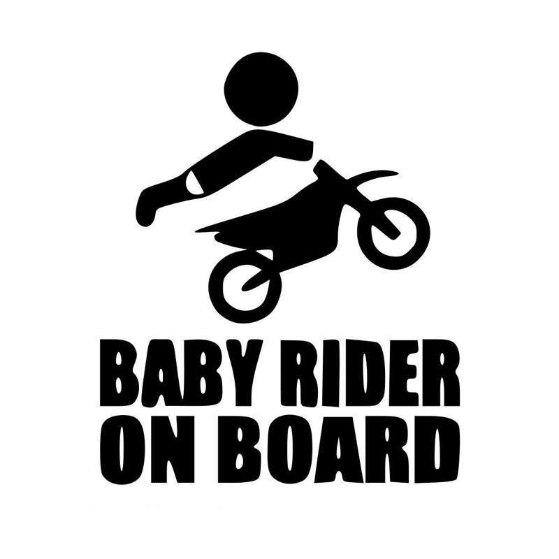 Baby rider on board dirt bike sticker vinyl decal by bubanyart on etsy https www etsy com listing 507119644 baby rider on board dirt bike sticker