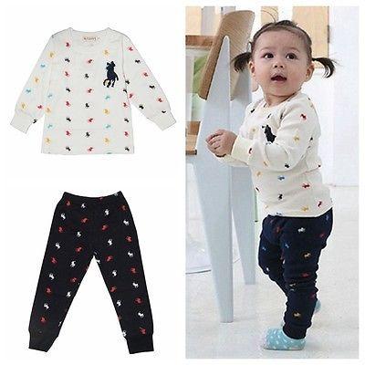 Bébé Enfants Gosse Tout Petit Filles Tops Pantalons Costume Ensembles POLO 1-3A