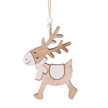 Suspension de Noël renne pompon gris