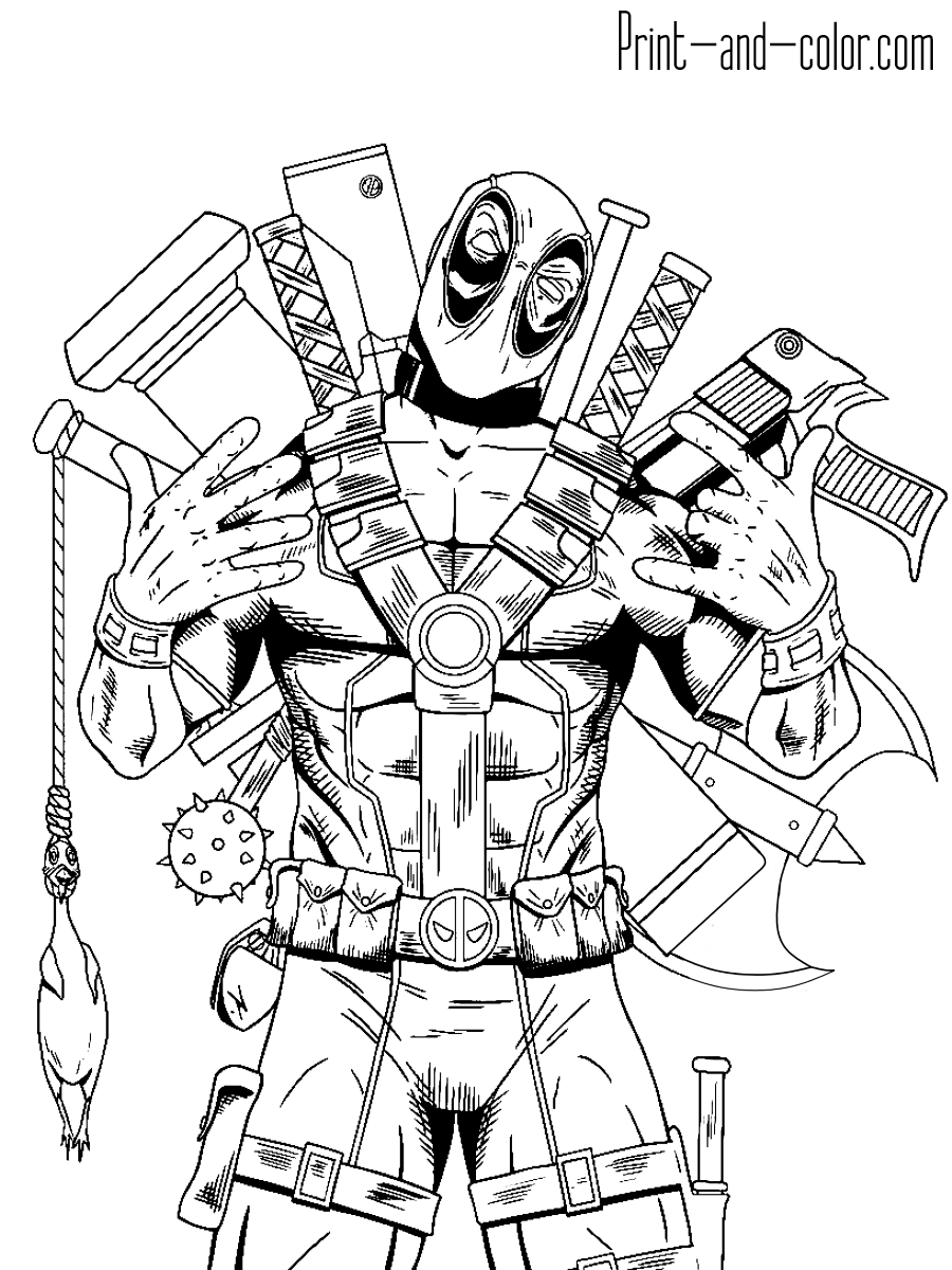 Deadpool Marvel Coloring Spiderman Coloring Cartoon Coloring Pages