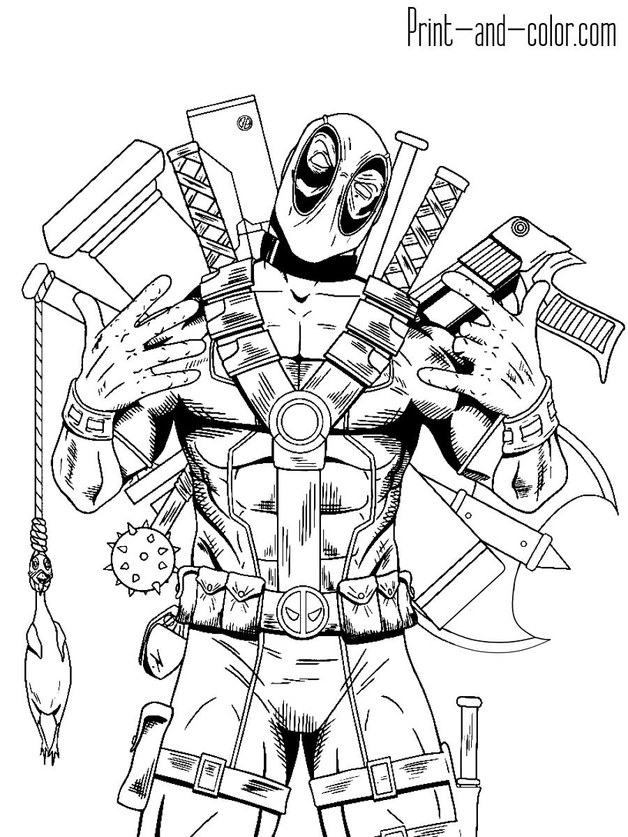 Deadpool Marvel Coloring Superhero Coloring Spiderman Coloring