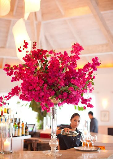 Bougainvillea  Flower arrangement for the buffet table or guest book table? Can see this in a taller milkglass