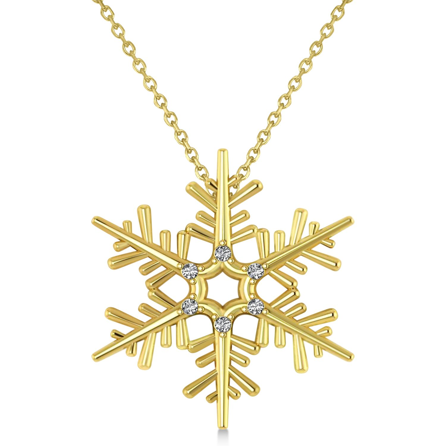 Diamond snowflake pendant necklace 14k yellow gold 006ct diamond snowflake pendant necklace 14k yellow gold 006ct 400 approx love mozeypictures Gallery