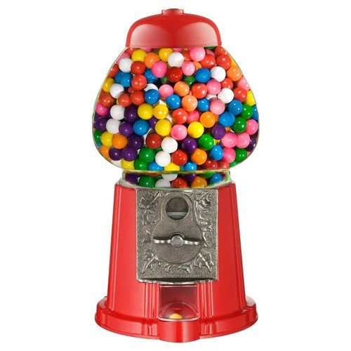 Vintage Candy Gum Gumball Vending Machine Glass Carousel Bubble Stand Metal Bank