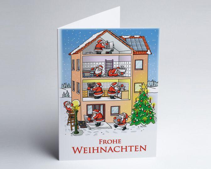 lustige gezeichnete branchen weihnachtskarte zum thema hausbau mit weihnachtsm nner als