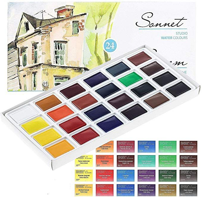 24 Sonnet Studio Watercolours Paint Set Russian Nevskaya Palitra
