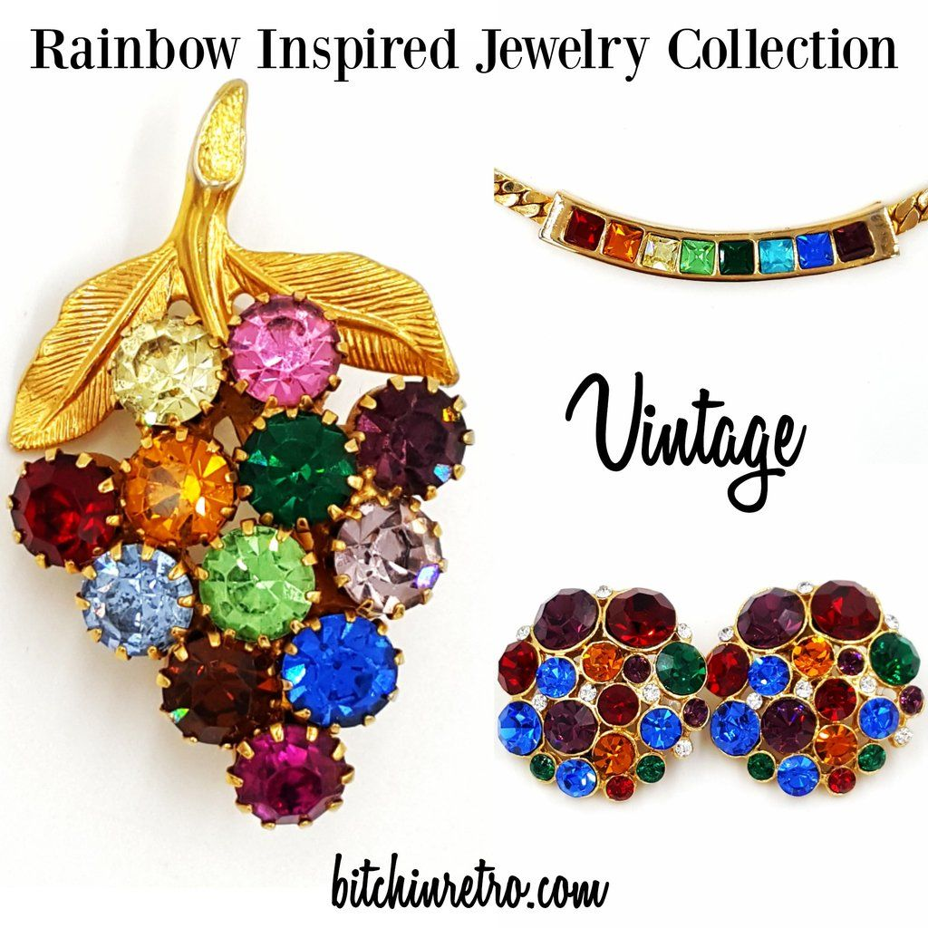 0091f73b52 Vintage Rhinestone Rainbow Jewelry Lot Necklace Earrings and Grape ...
