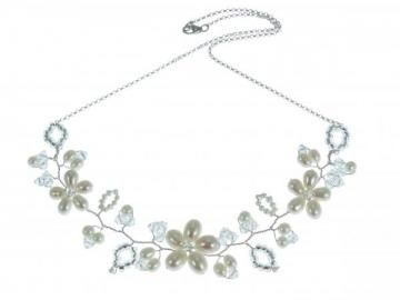 Vintage Vine necklace. Pearl flowers, Swarovski crystal tendrils. Perfect for a summer wedding. Hermione Harbutt.