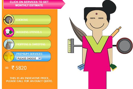 Indian Woman Cooking Clipart