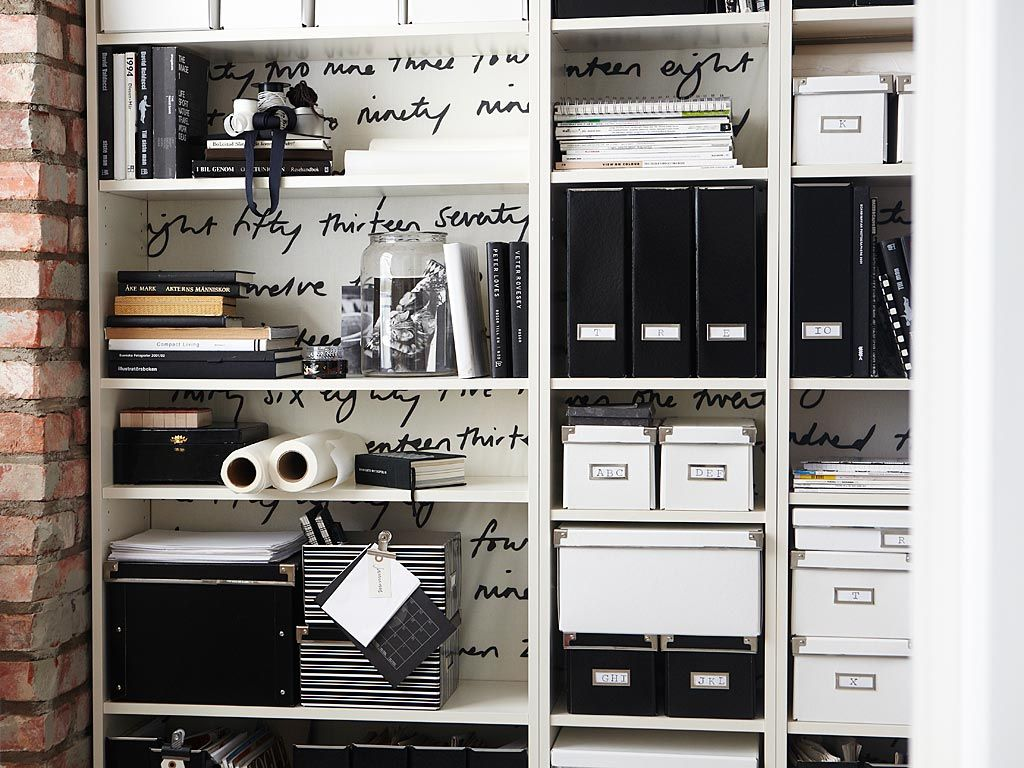 Ikea Billy bookcase, Britten Nummer fabric, Kassett boxes/magazine ...
